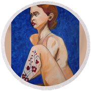 Nude With Flower Tatoo Round Beach Towel by Esther Newman-Cohen