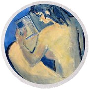 Nude With Nose In Book Round Beach Towel