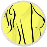 Nude Woman Profile Illustration Round Beach Towel