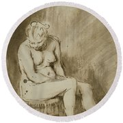 Nude Woman Seated On A Stool  Round Beach Towel