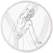 Nude_male_drawing_25 Round Beach Towel