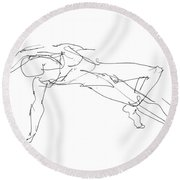 Nude_male_drawings_23 Round Beach Towel