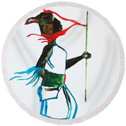 Nuer Dance - South Sudan Round Beach Towel