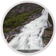 Nugget Falls, Alaska Round Beach Towel