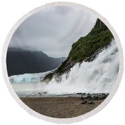 Round Beach Towel featuring the photograph Nugget Falls And The Mendenhall by Ed Clark