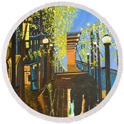 Round Beach Towel featuring the painting Nuit De Pluie by Donna Blossom