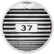 Number 37 Metal Square Round Beach Towel by Terry DeLuco