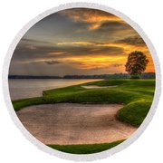 Round Beach Towel featuring the photograph Number 4 Sunset Traps Reynolds Plantation by Reid Callaway