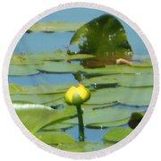 Nuphar Lutea Yellow Pond Round Beach Towel