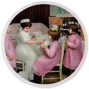 Round Beach Towel featuring the photograph Nurse - Playing Nurse 1918 by Mike Savad