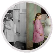 Round Beach Towel featuring the photograph Nurse - Playing Nurse 1918 - Side By Side by Mike Savad