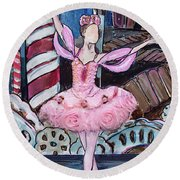 Round Beach Towel featuring the painting Nutcracker Sugar Plum Fairy by TM Gand