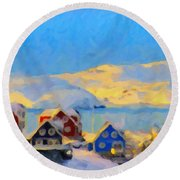 Round Beach Towel featuring the painting Nuuk, Greenland by Chris Armytage