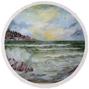 Nw Coast At Sunset Round Beach Towel