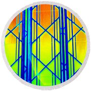 Ny Window 1 Round Beach Towel