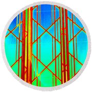 Ny Window 2 Round Beach Towel