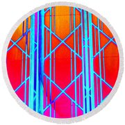 Ny Window 3 Round Beach Towel