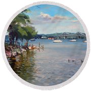 Nyack Park By Hudson River Round Beach Towel