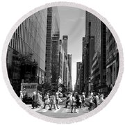 Nyc 42nd Street Crosswalk Round Beach Towel