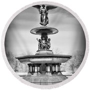 Nyc Central Park Bethesda Fountain Round Beach Towel