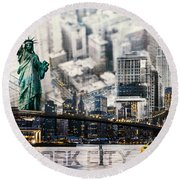 Round Beach Towel featuring the photograph Nyc - Collage by Hannes Cmarits