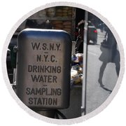 Round Beach Towel featuring the photograph Nyc Drinking Water by Rob Hans
