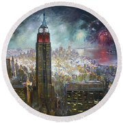 Nyc. Empire State Building Round Beach Towel by Ylli Haruni