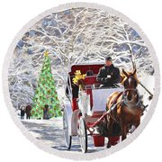 Festive Winter Carriage Rides Round Beach Towel