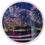 Nyc Fourth Of July Celebration Round Beach Towel