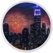 Round Beach Towel featuring the photograph Nyc Fourth Of July Fireworks  by Susan Candelario