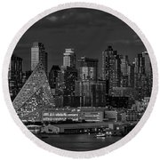 Round Beach Towel featuring the photograph Nyc Golden Empire Bw by Susan Candelario