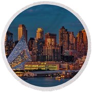 Round Beach Towel featuring the photograph Nyc Golden Empire by Susan Candelario