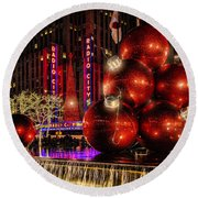 Round Beach Towel featuring the photograph Nyc Holiday Balls by Chris Lord