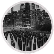 Round Beach Towel featuring the photograph Nyc Skyline Bw by Laura Fasulo