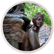 Nyc Library Angel Round Beach Towel by Susan Lafleur