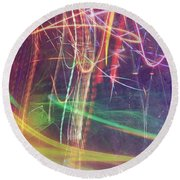 Nyc Lightninig Round Beach Towel