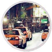 New York City Night Drive Round Beach Towel
