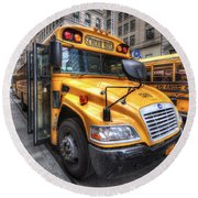 Nyc School Bus Round Beach Towel by Yhun Suarez