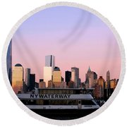 Nyc Skyline With Boat At Pier Round Beach Towel