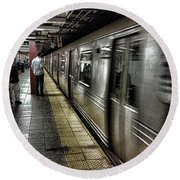 Nyc Subway Round Beach Towel by Martin Newman