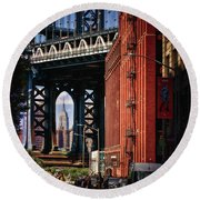 Nyc Summer Postcard Round Beach Towel
