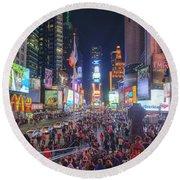 Nyc Times Square Panorama Round Beach Towel