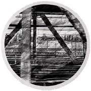 Round Beach Towel featuring the photograph Nyc Train Bridge Tracts by Joan Reese