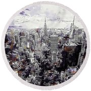 Nyc View From Rockefeller Center Round Beach Towel