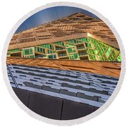 Round Beach Towel featuring the photograph Nyc West 57 St Pyramid by Susan Candelario