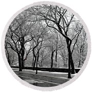 Nyc Winter Wonderland Round Beach Towel