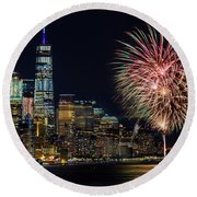 Round Beach Towel featuring the photograph Nyc World Trade Center Pride by Susan Candelario