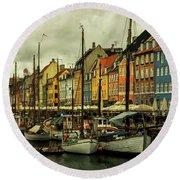 Nyhavn In Copenhagen Round Beach Towel