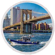 Nypd On East River Round Beach Towel