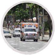 Round Beach Towel featuring the photograph Oahu Emergency by RKAB Works